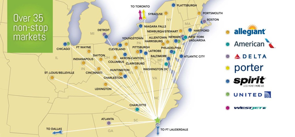 Myrtle Beach International Airport Route Map